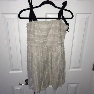 Cream linen textured dress